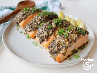 Salmon baked with Furikake and Scallions recipe