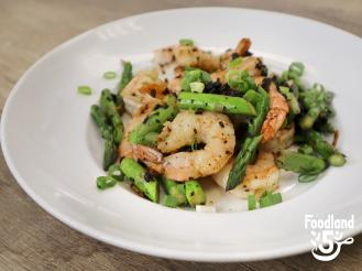 Shrimp and Asparagus stir fried with Chinese Black Beans