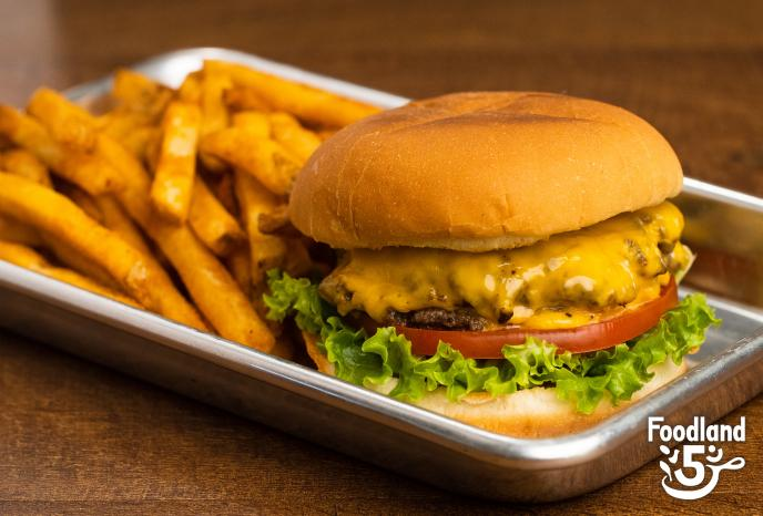 Double Cheese Smash Burger with fries