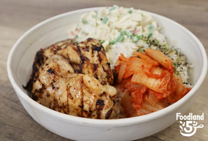 Grilled chicken thighs with kimchee and potato salad